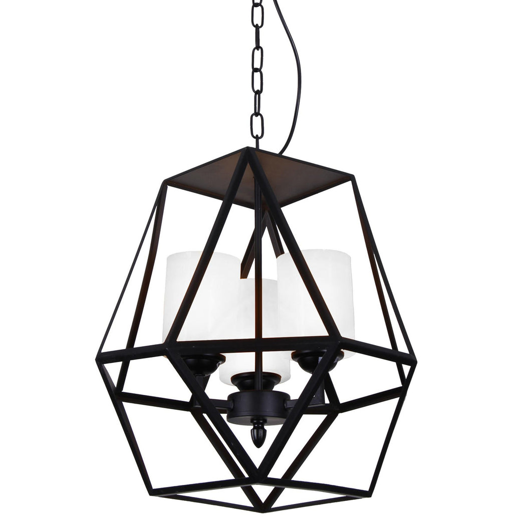 3 Light Candle Mini Pendant with Black finish