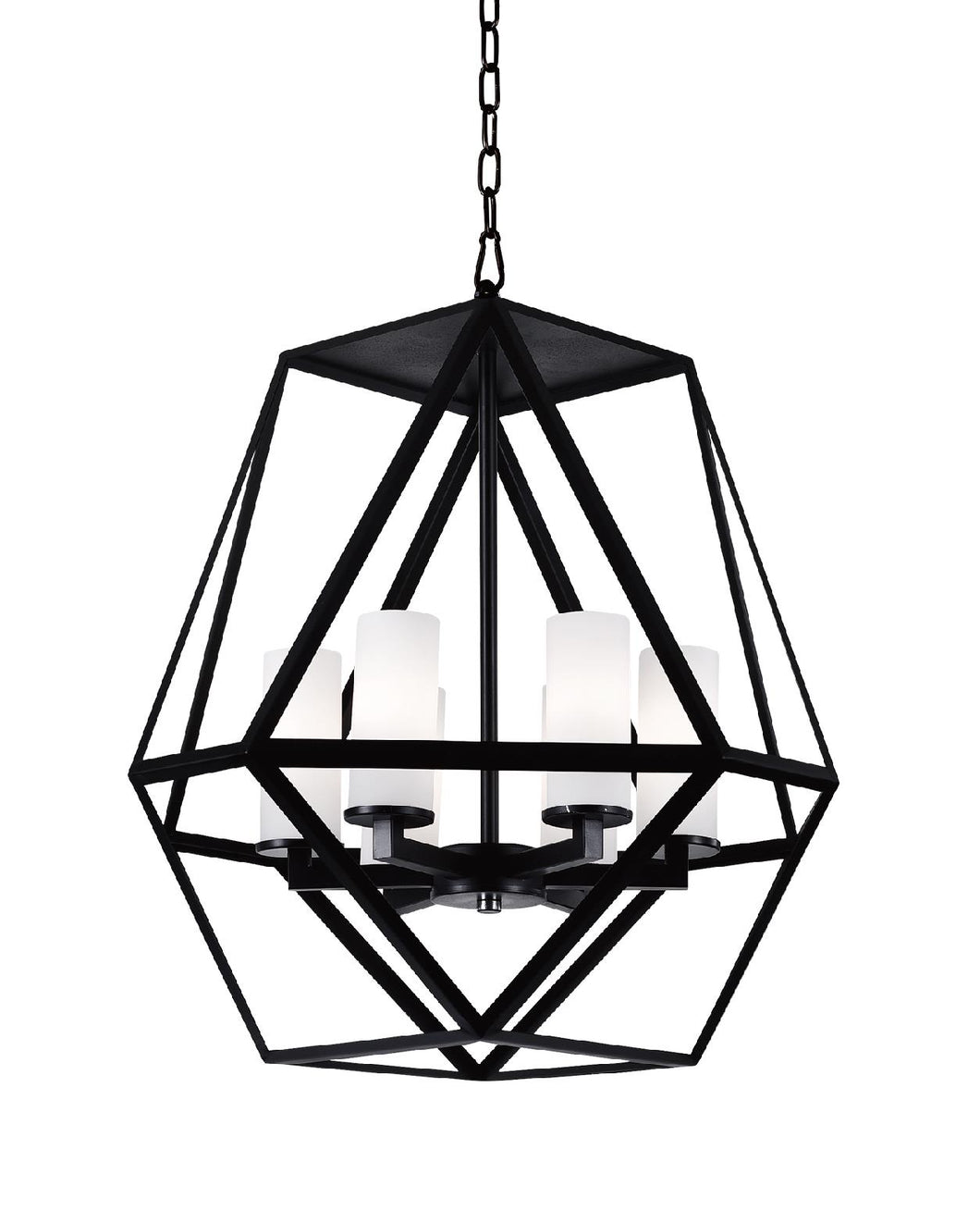 6 Light Candle Chandelier with Black finish