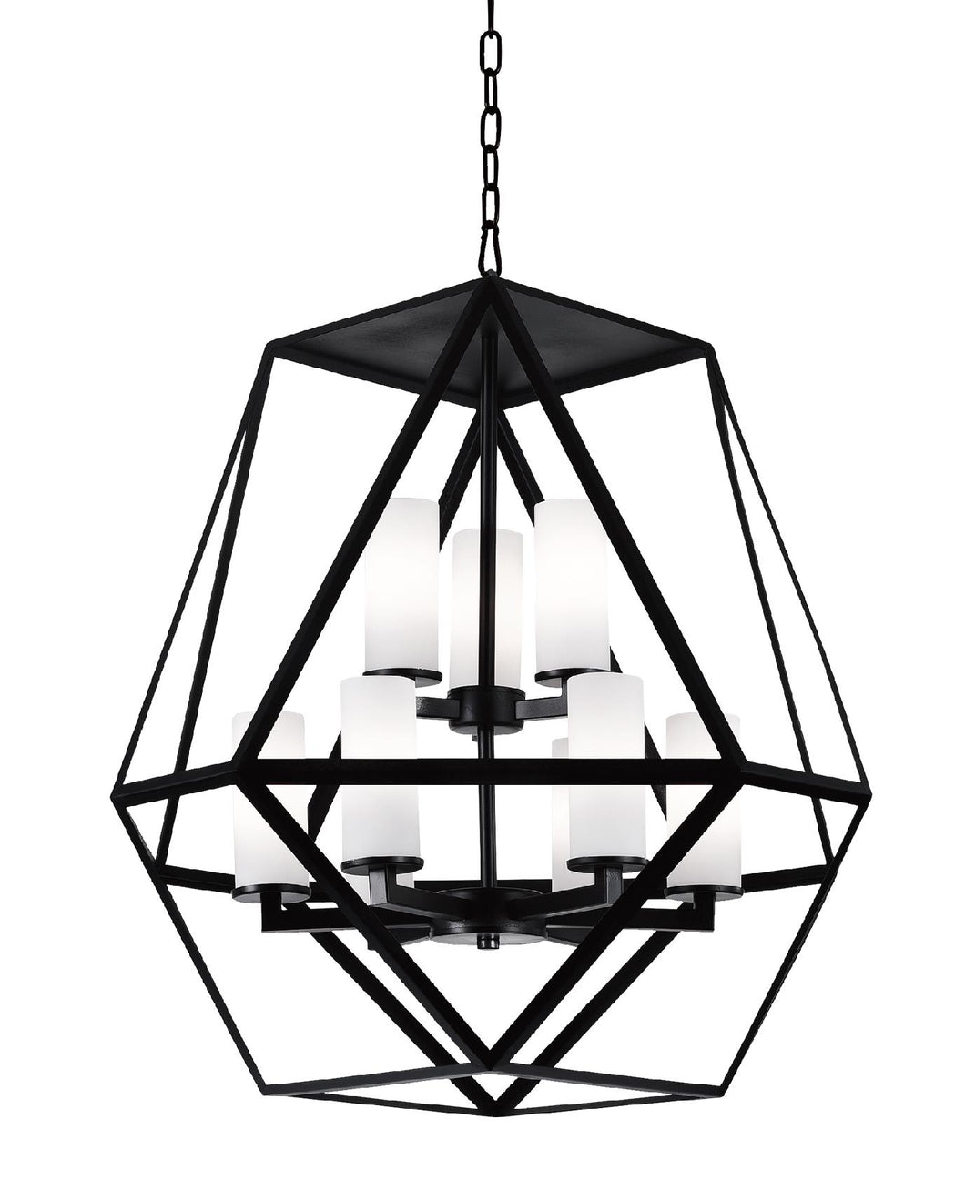 9 Light Candle Chandelier with Black finish