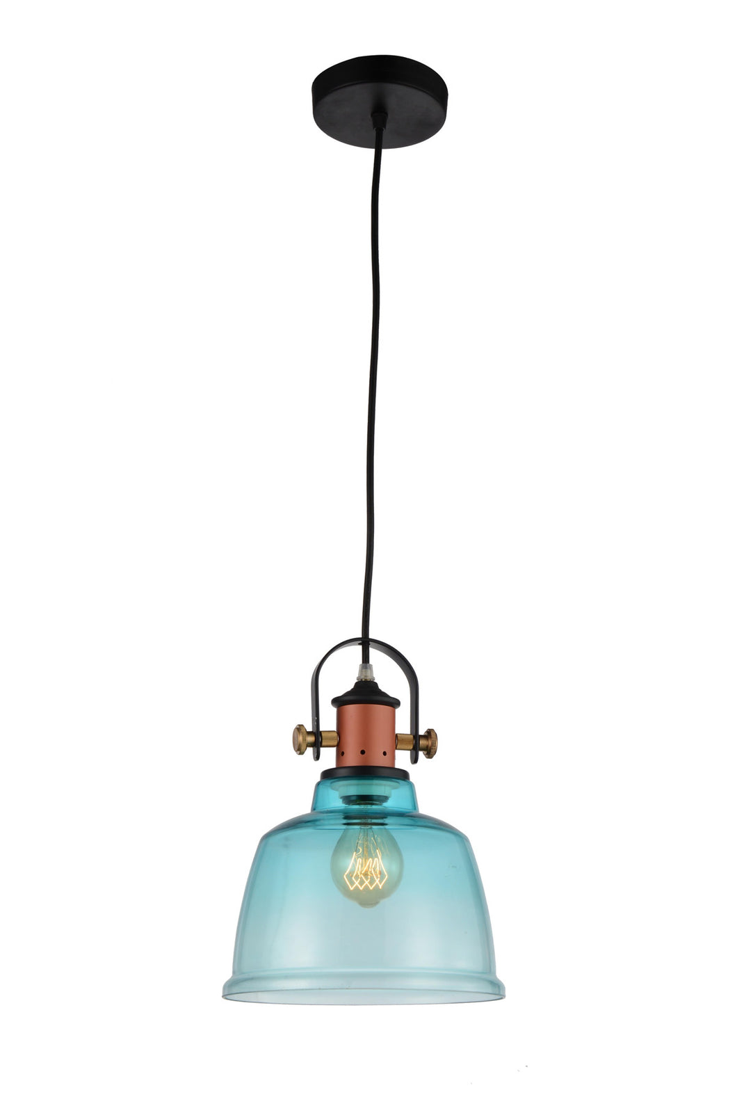 1 Light Down Pendant with Blue finish