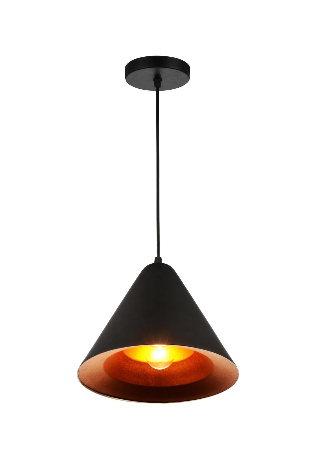 1 Light Down Pendant with Black & Gold finish