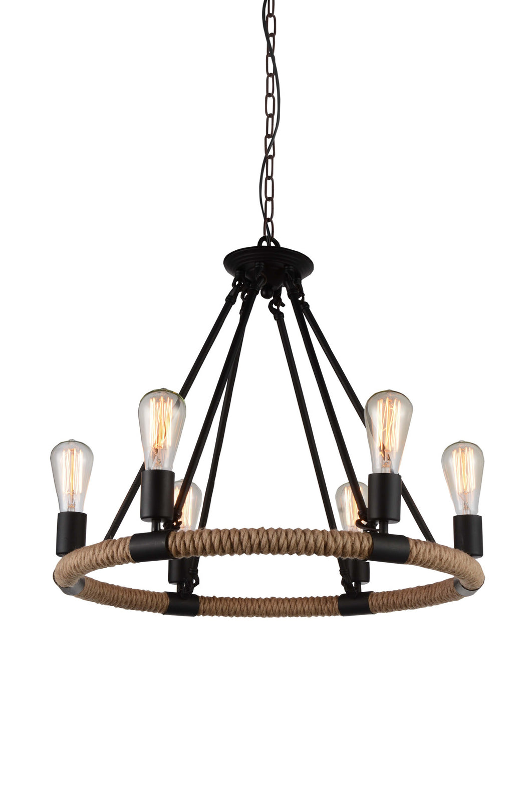 6 Light Up Chandelier with Black  finish