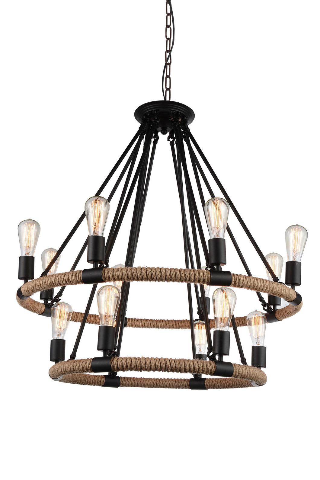14 Light Up Chandelier with Black finish