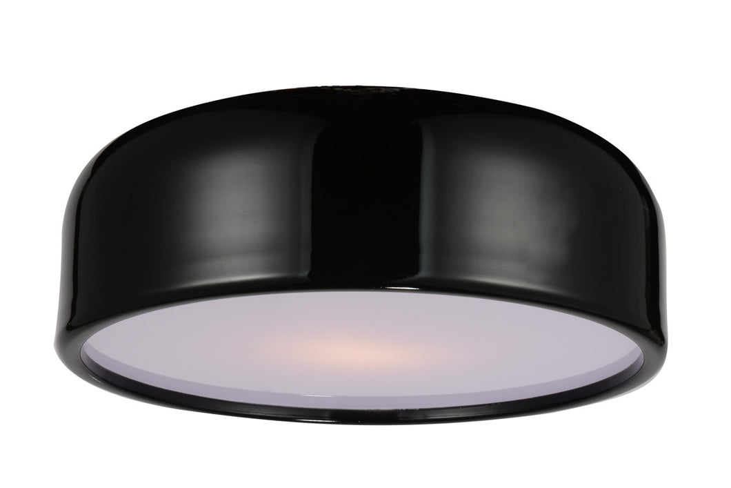 3 Light Drum Shade Flush Mount with Black finish