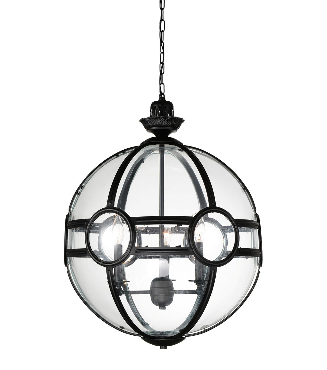 3 Light  Pendant with Black finish