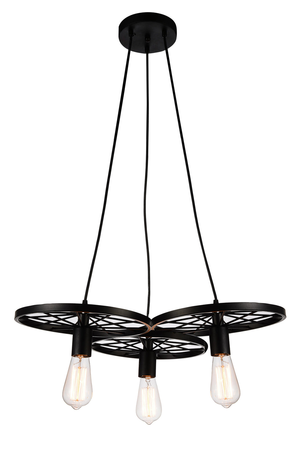 3 Light Down Chandelier with Black finish