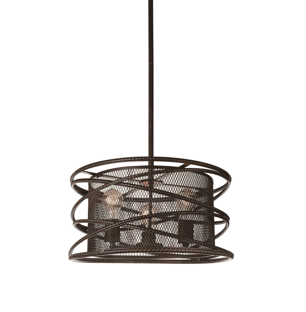 3 Light Up Chandelier with Brown finish