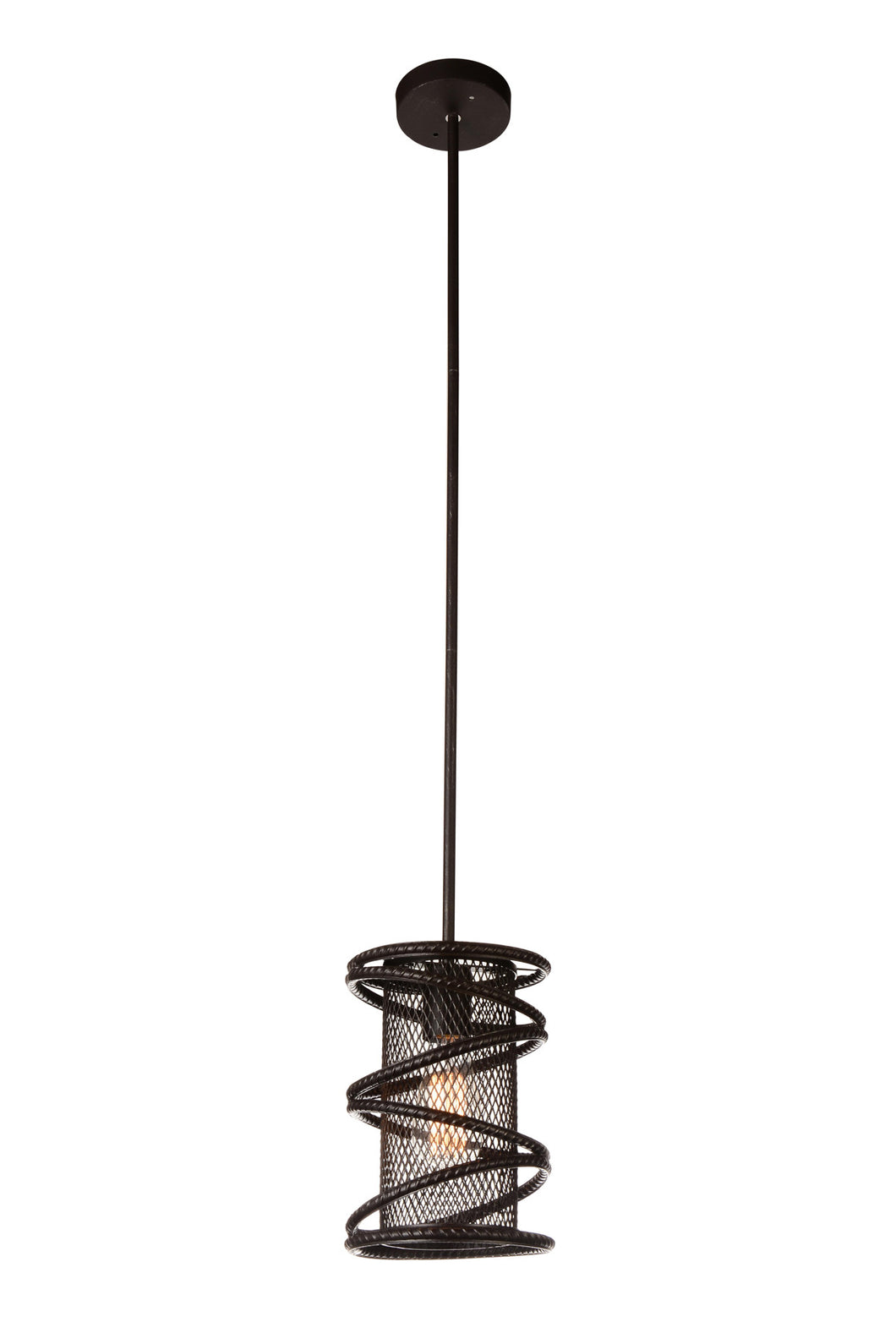 1 Light Down Mini Pendant with Brown finish