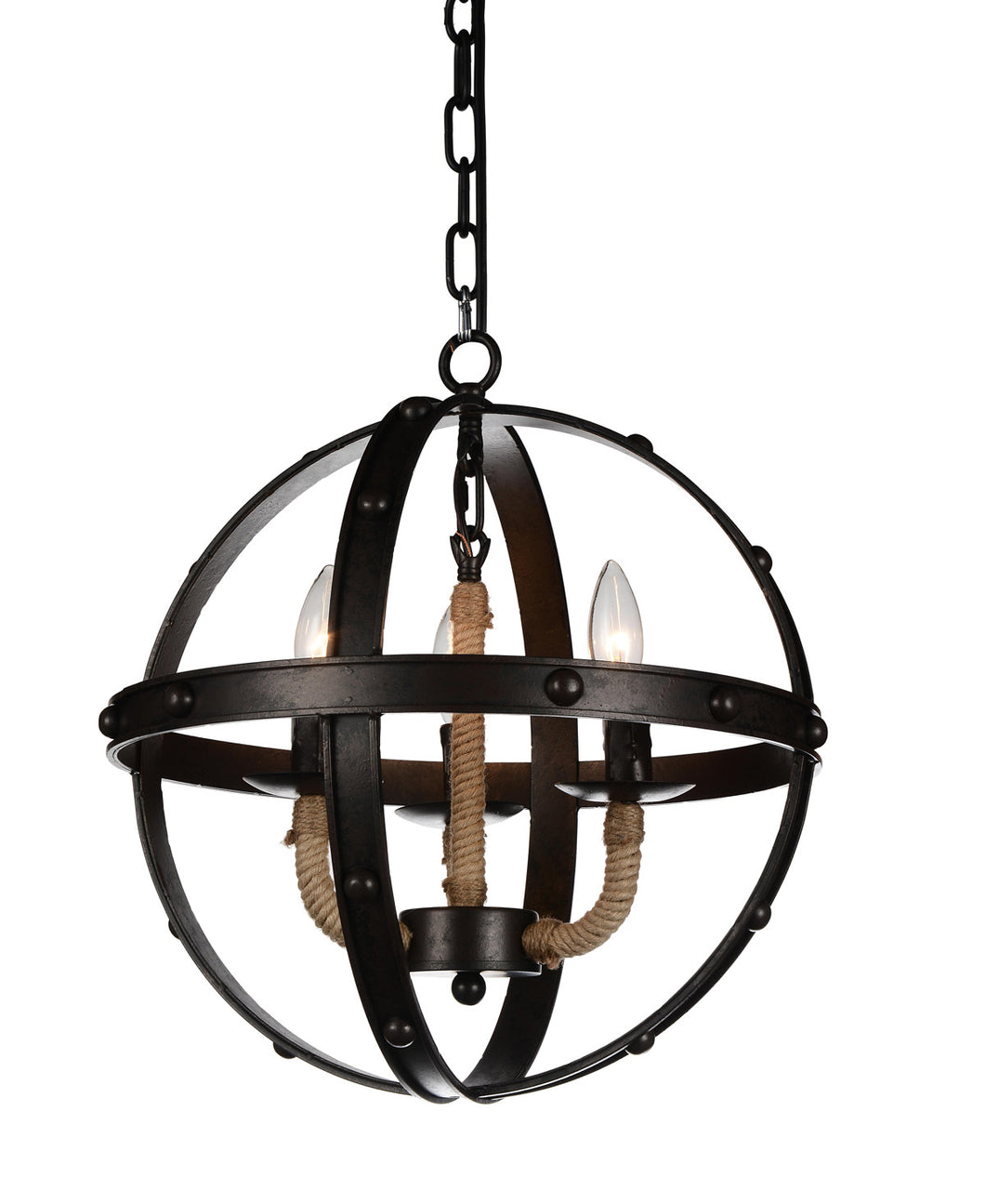 3 Light Up Chandelier with Rust finish