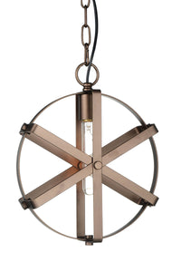 1 Light Down Pendant with Brown finish