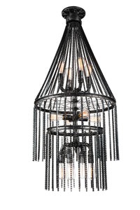 12 Light  Chandelier with Gray finish