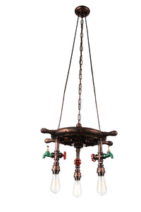 3 Light Down Chandelier with Speckled copper finish
