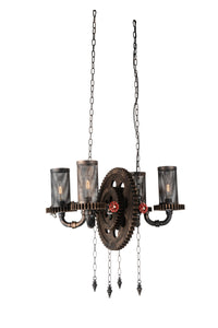 4 Light Up Chandelier with Rust finish