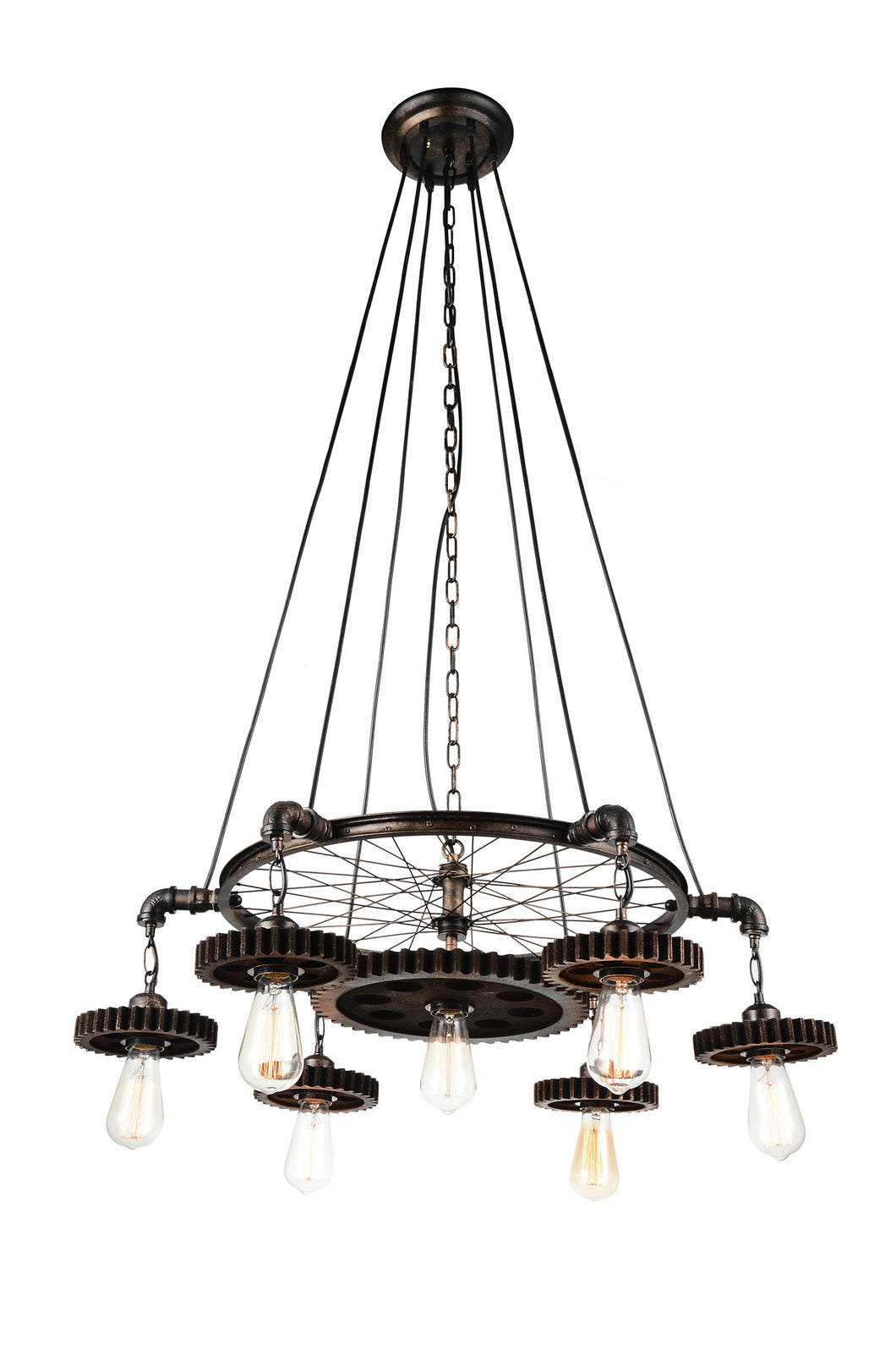 7 Light Down Chandelier with Blackened Copper finish