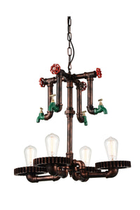4 Light Up Chandelier with Speckled copper finish