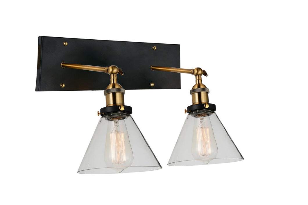 2 Light Wall Sconce with Black & Gold Brass finish
