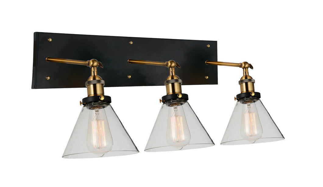 3 Light Wall Sconce with Black & Gold Brass finish