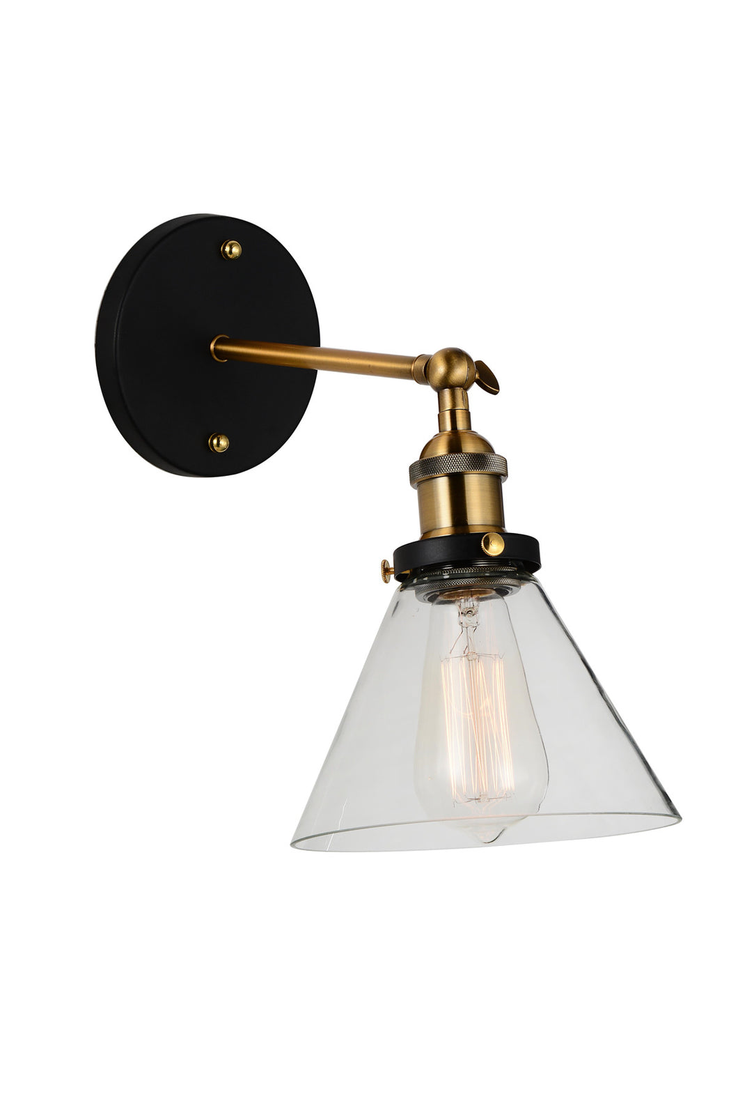 1 Light Wall Sconce with Black & Gold Brass finish