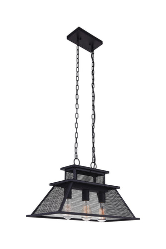 3 Light Island Chandelier with Reddish Black finish