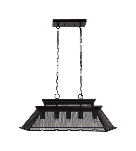 5 Light Island Chandelier with Reddish Black finish