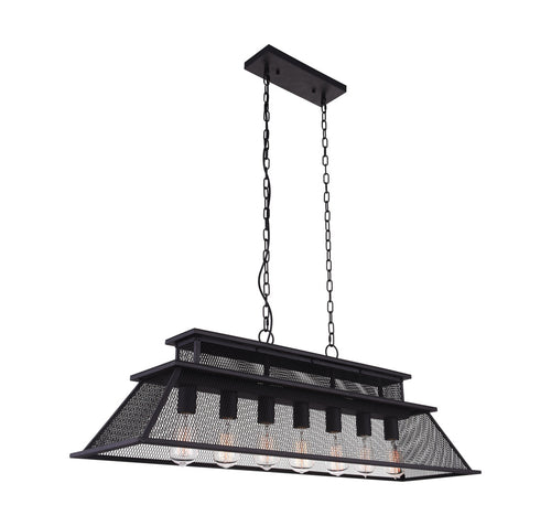 7 Light Island Chandelier with Reddish Black finish