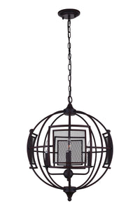 9 Light  Chandelier with Reddish Black finish