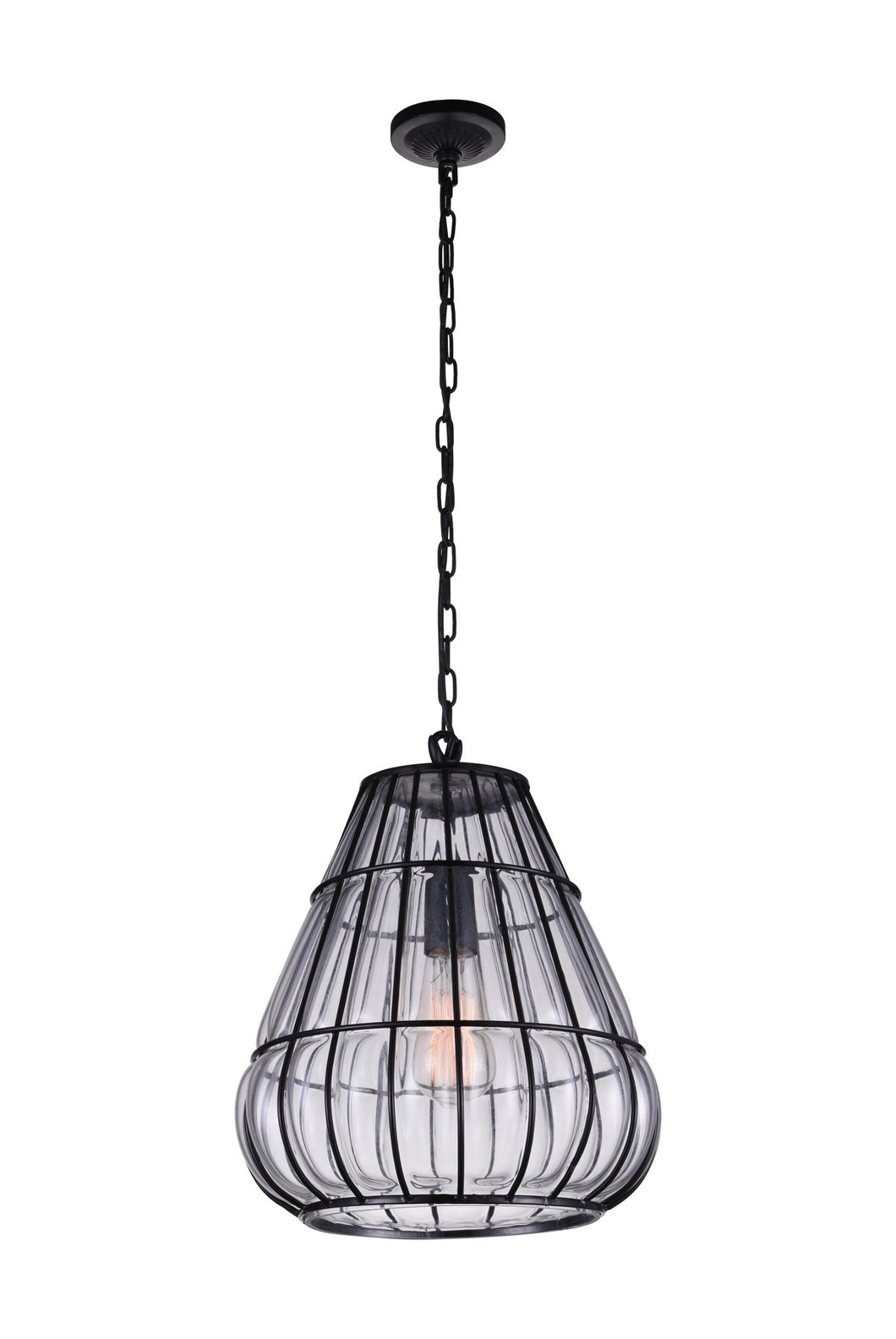 1 Light Down Pendant with Black & Wood finish