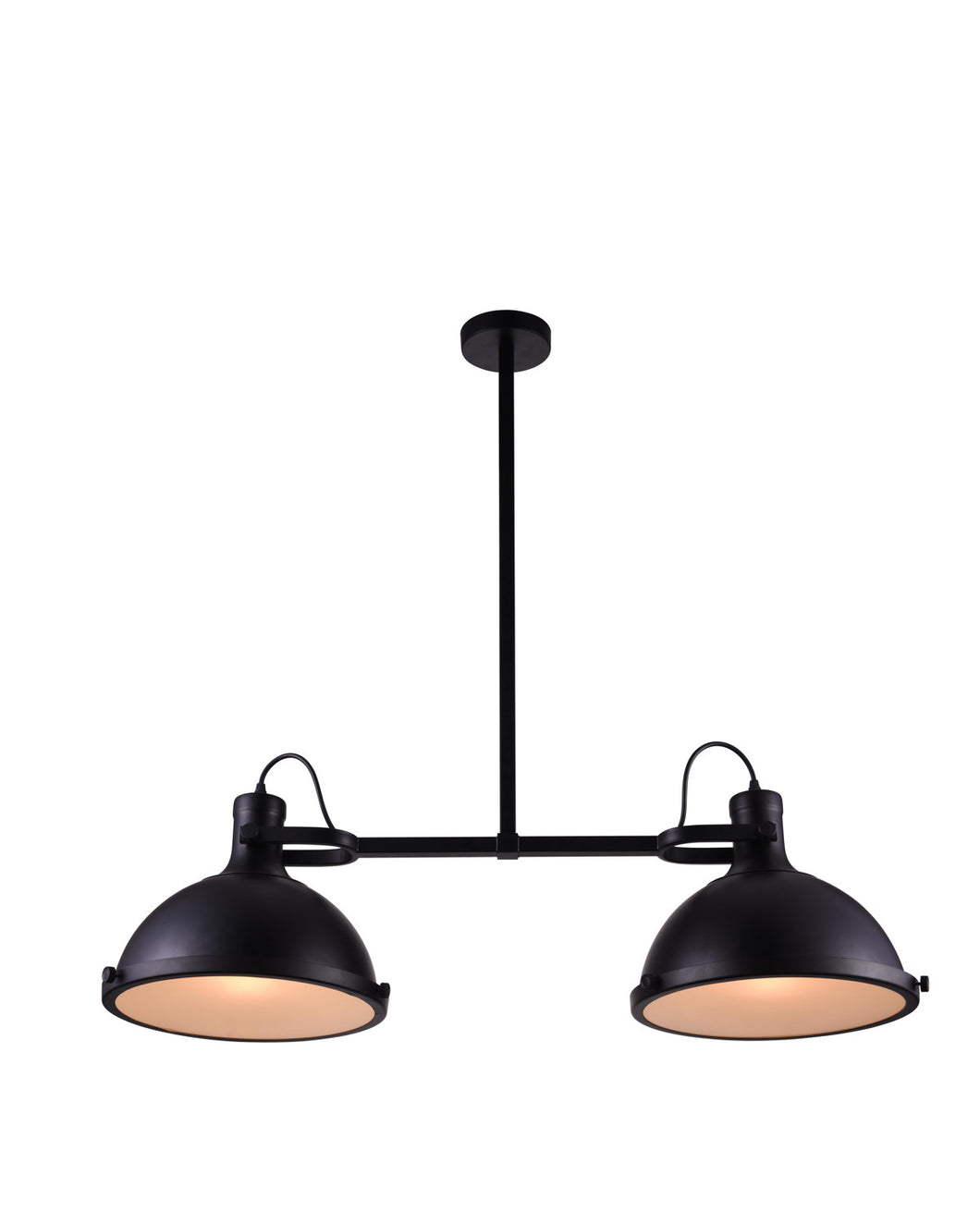 2 Light Island Chandelier with Black finish