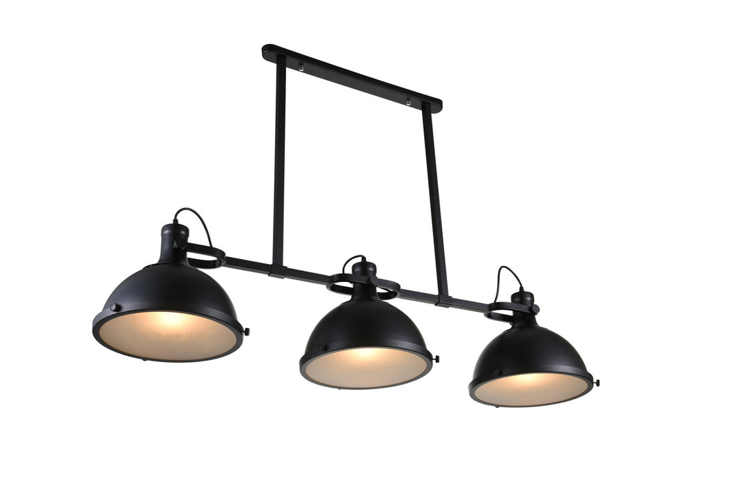 3 Light Island Chandelier with Black finish