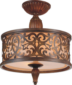 3 Light Drum Shade Flush Mount with Brushed Chocolate finish