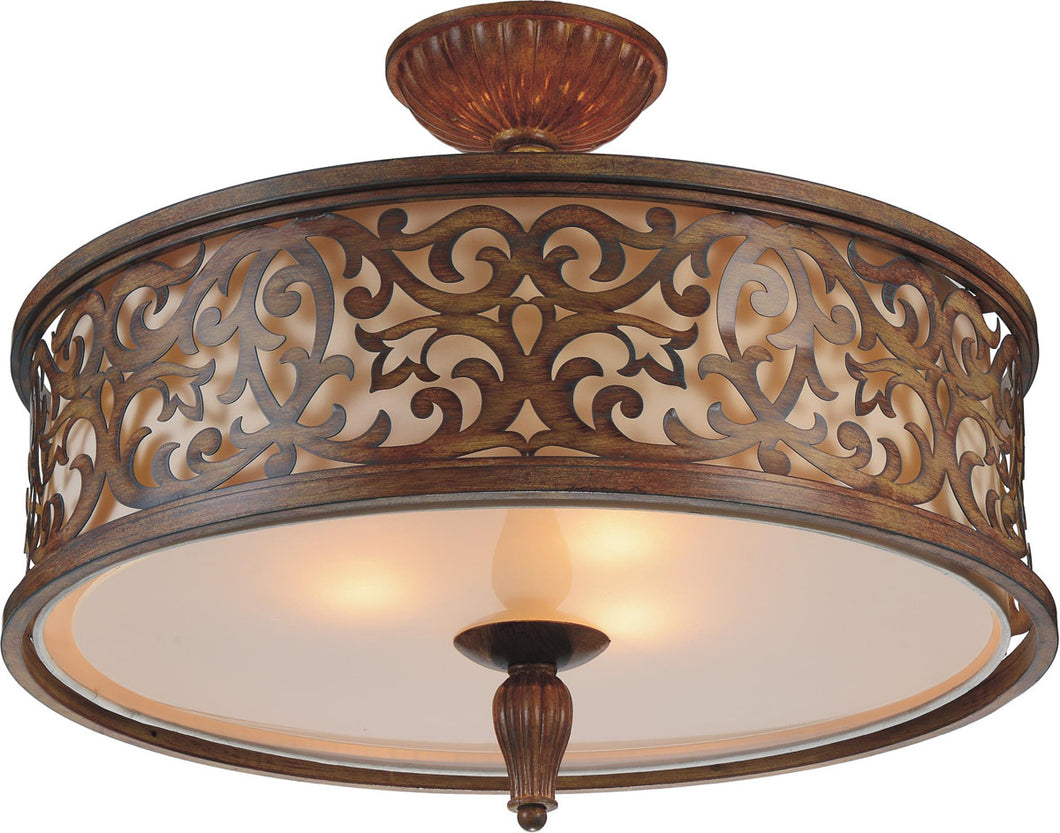 5 Light Drum Shade Flush Mount with Brushed Chocolate finish