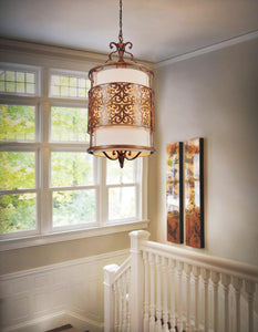 3 Light Drum Shade Chandelier with Brushed Chocolate finish