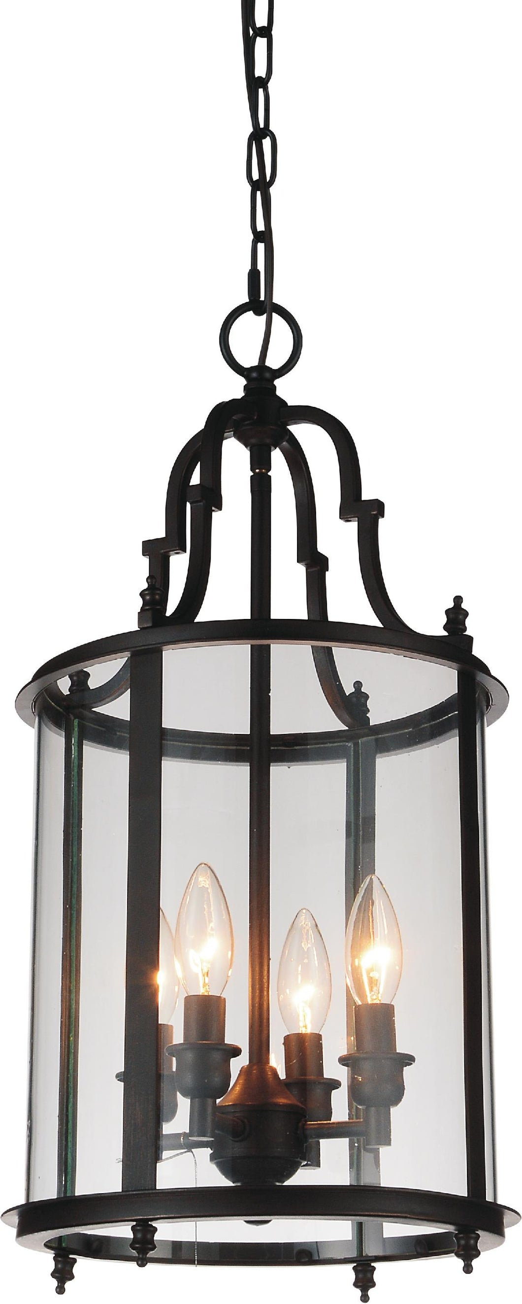 4 Light Drum Shade Mini Pendant with Oil Rubbed Bronze finish