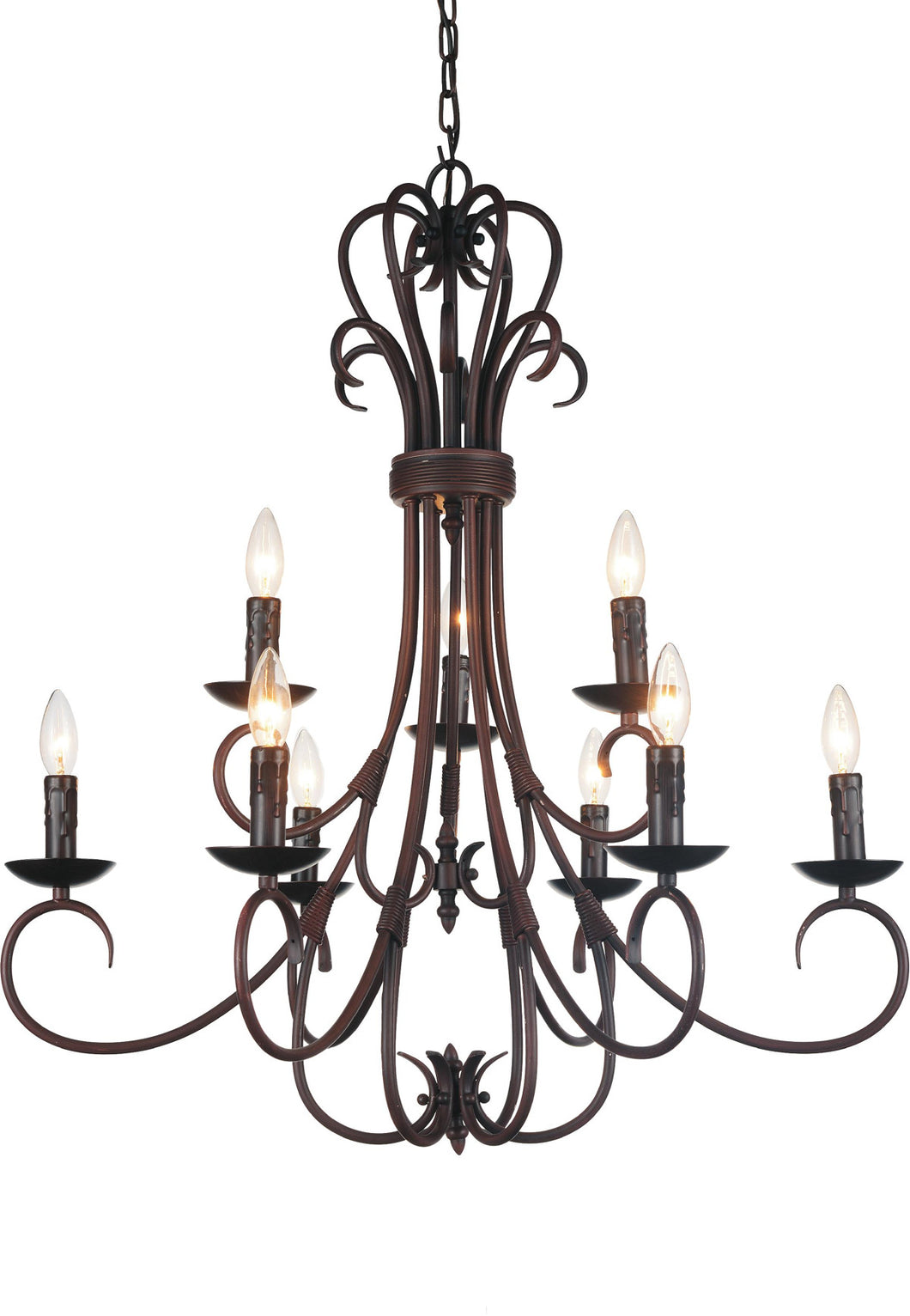 9 Light Up Chandelier with Oil Rubbed Brown finish