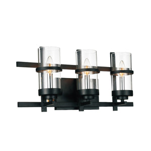 3 Light Wall Sconce with Black finish