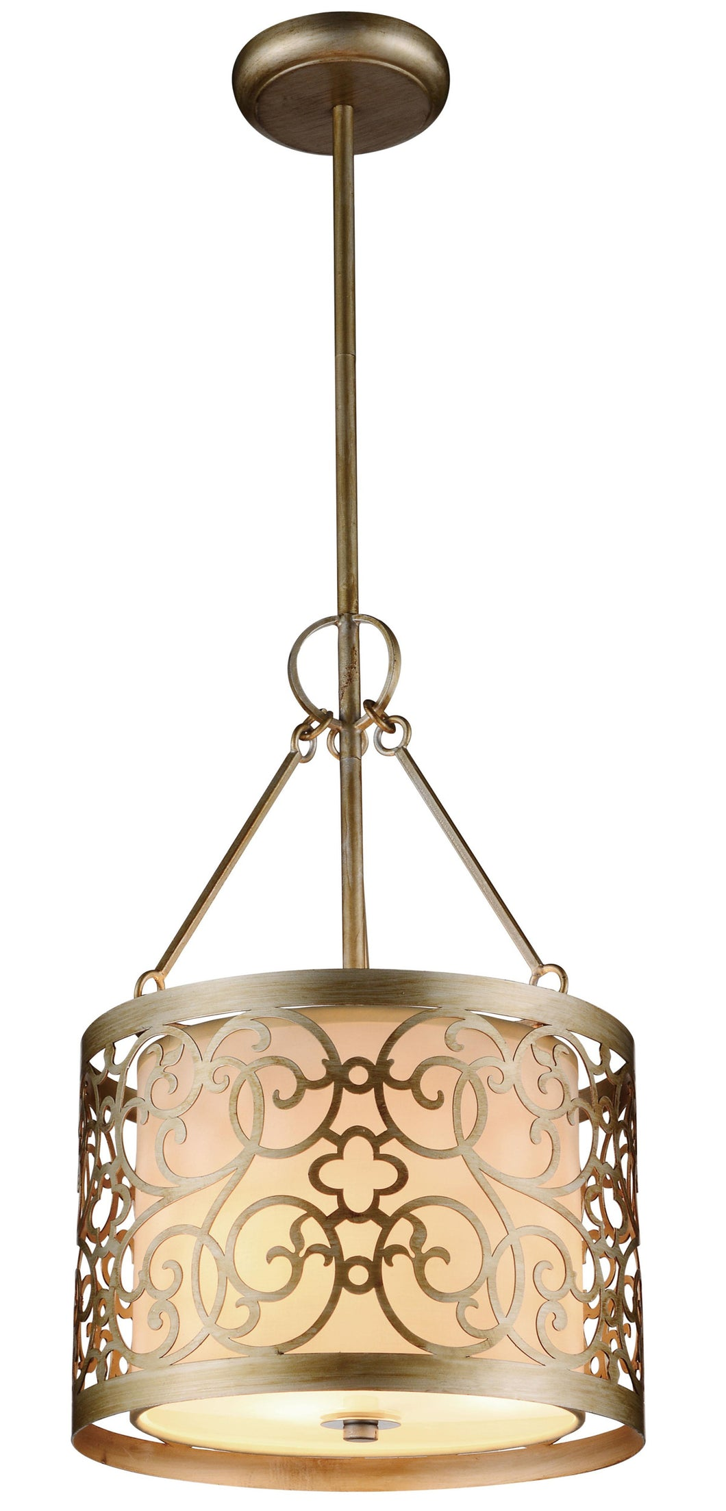 3 Light Drum Shade Mini Pendant with Rubbed Silver finish