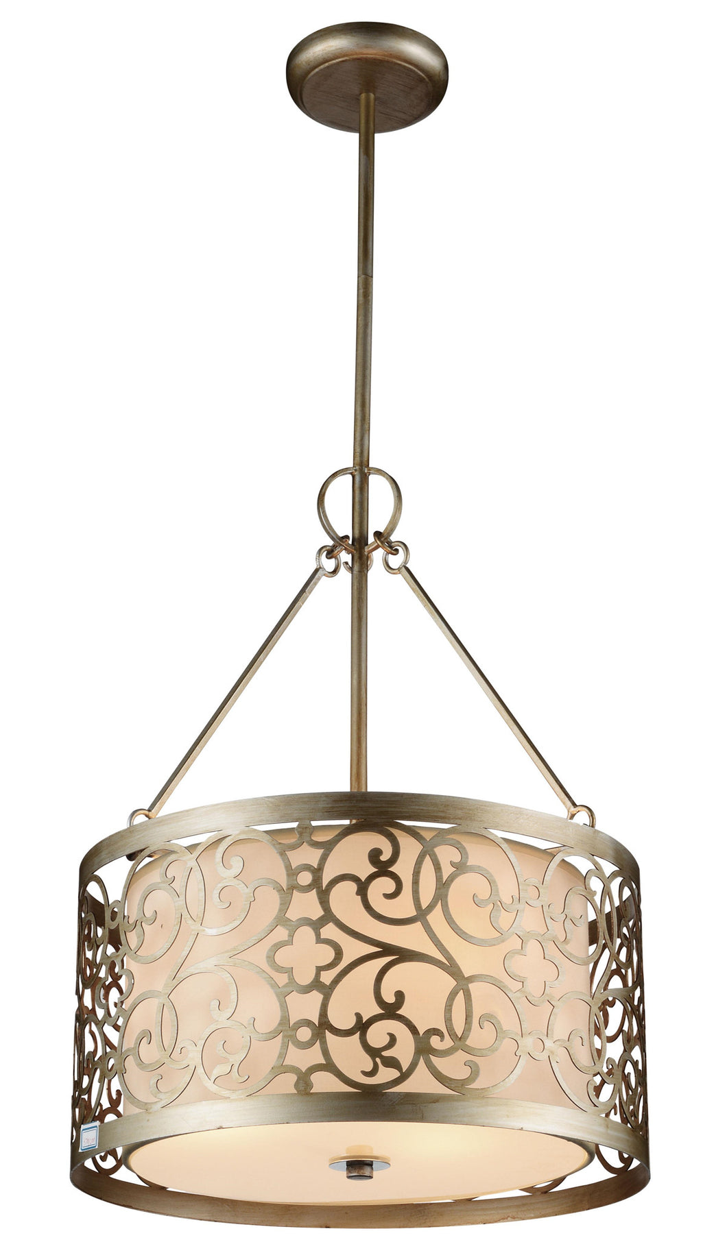 3 Light Drum Shade Chandelier with Rubbed Silver finish
