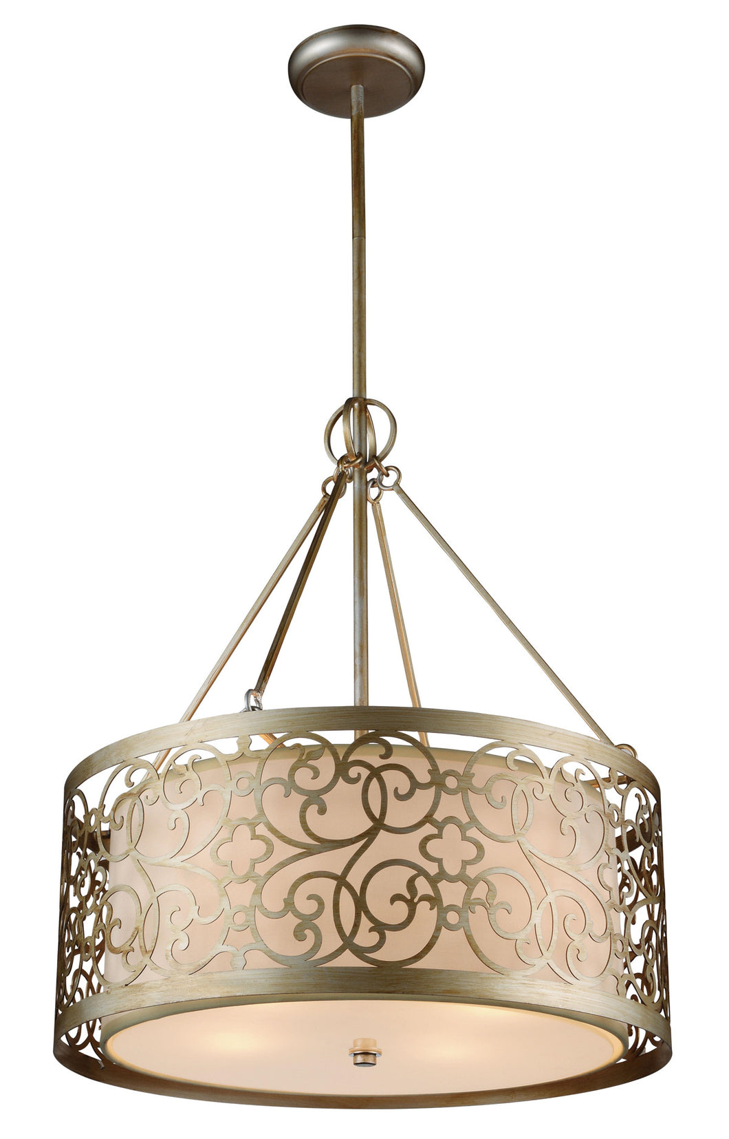 5 Light Drum Shade Chandelier with Rubbed Silver finish