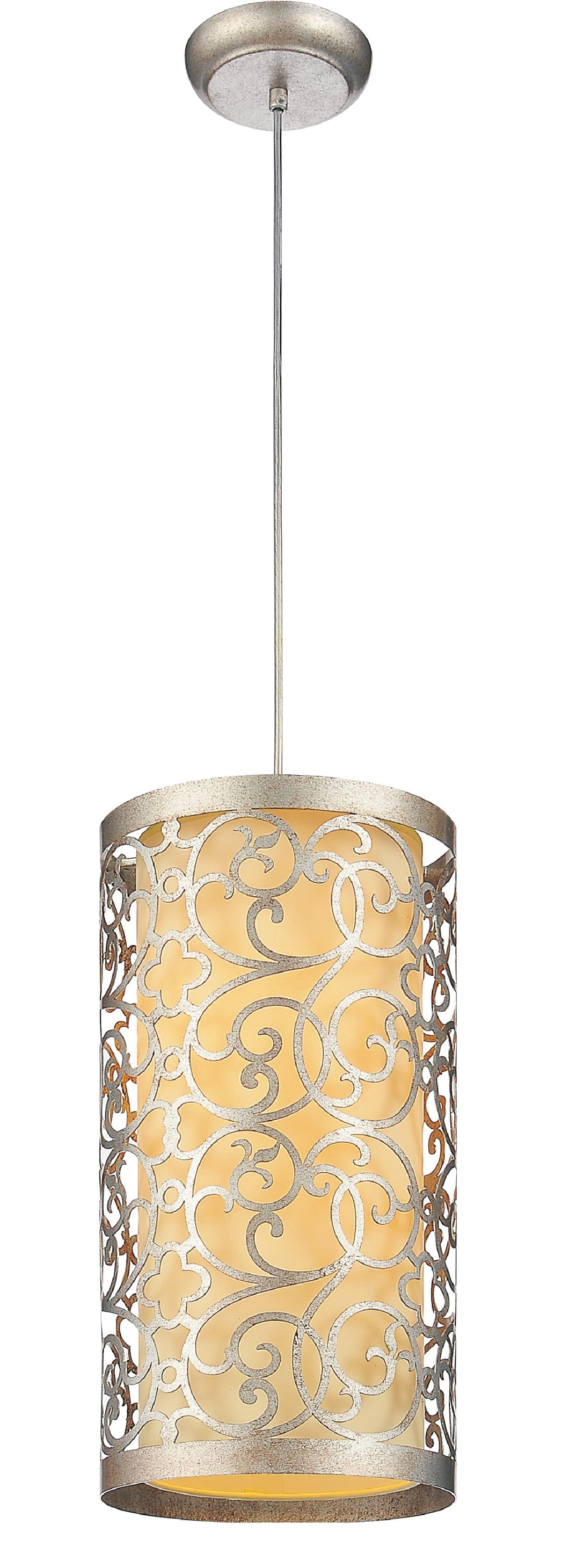 2 Light Drum Shade Mini Pendant with Rubbed Silver finish
