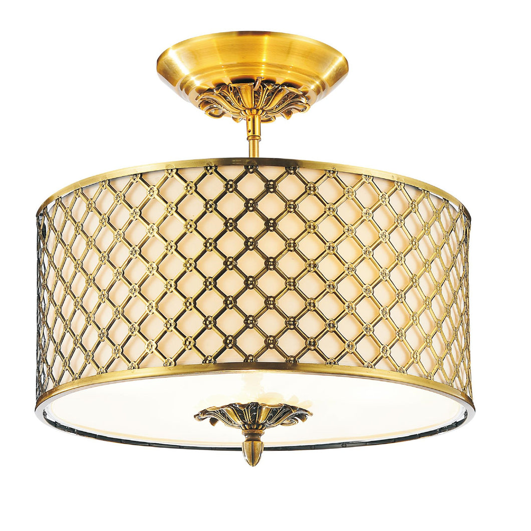 3 Light Drum Shade Flush Mount with French Gold finish