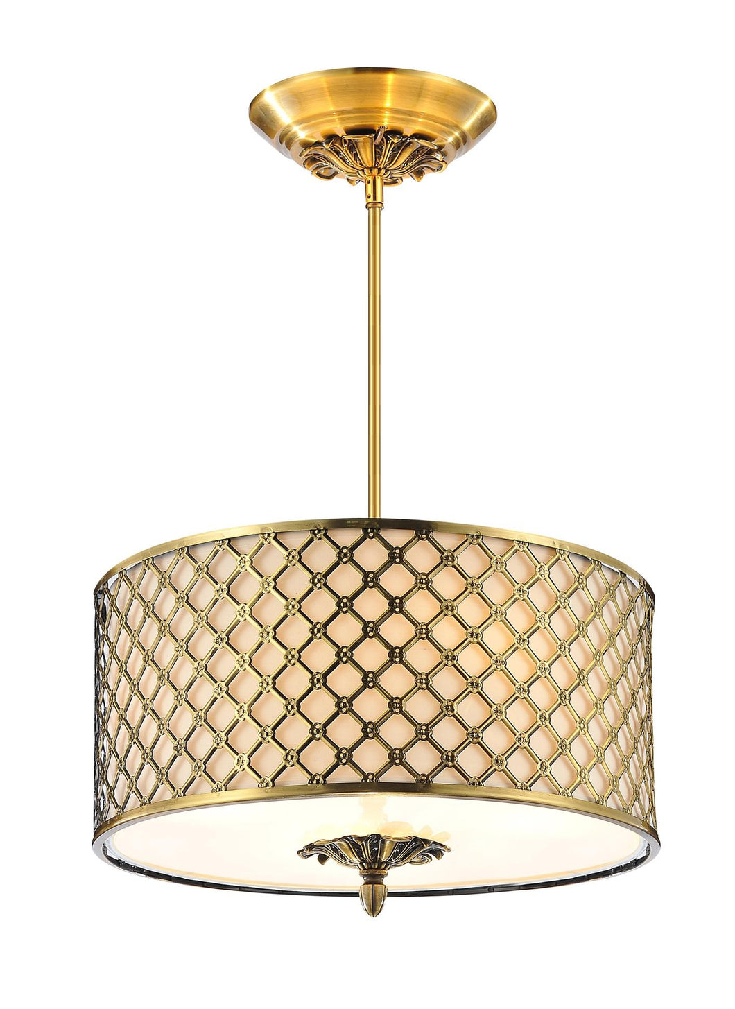 3 Light Drum Shade Chandelier with French Gold finish