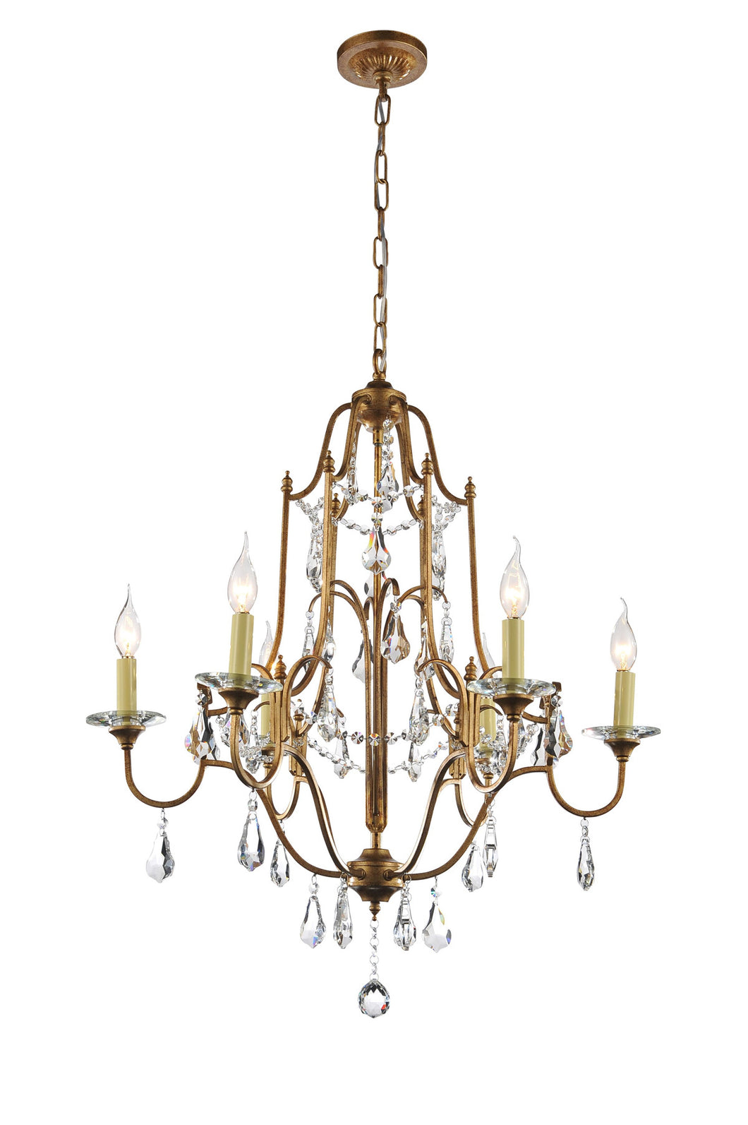 6 Light Up Chandelier with Oxidized Bronze finish