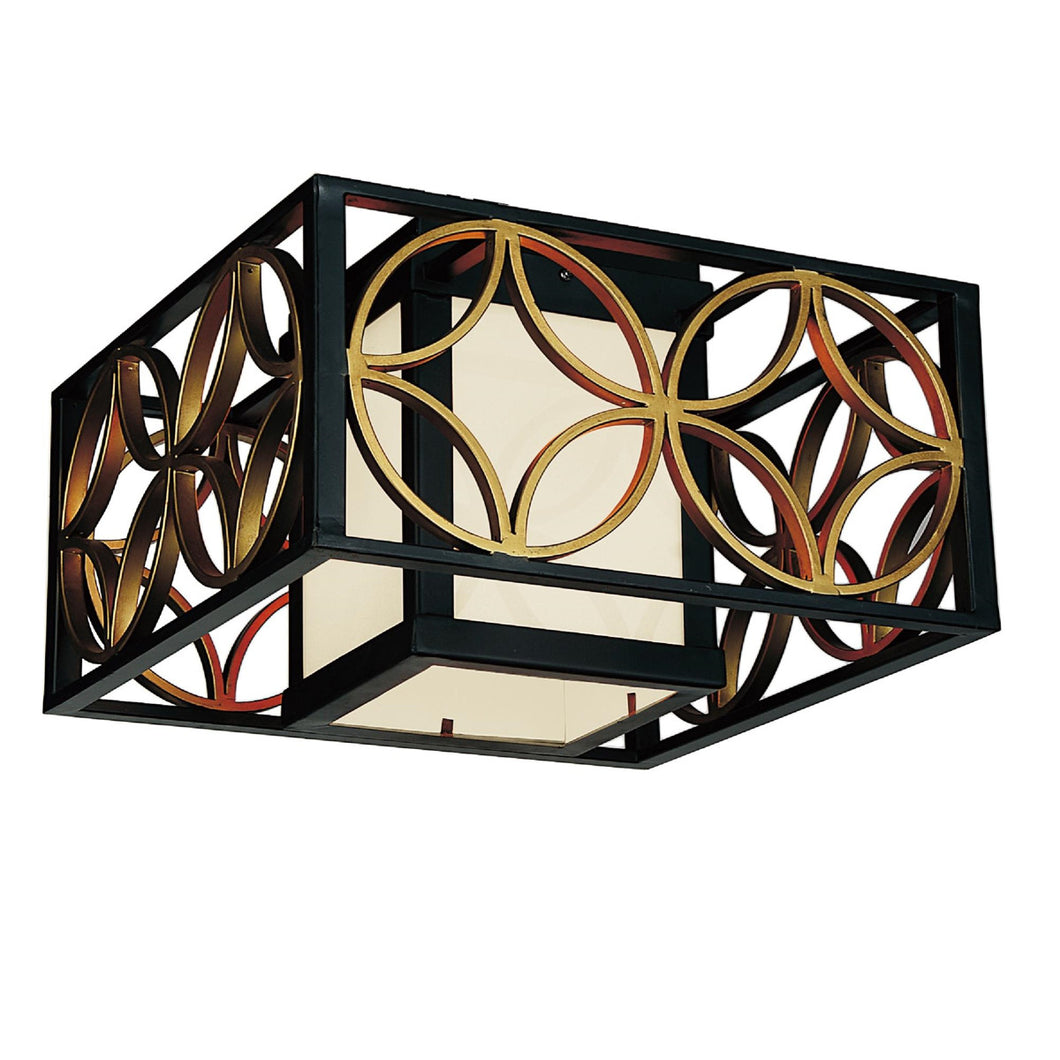 2 Light Drum Shade Flush Mount with Golden Line Bronze finish