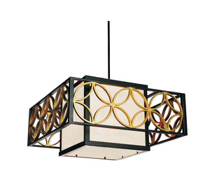 2 Light Drum Shade Chandelier with Golden Line Bronze finish