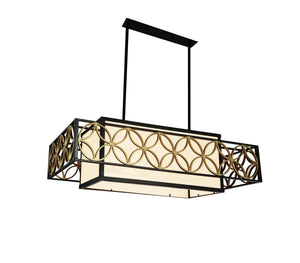4 Light Drum Shade Chandelier with Golden Line Bronze finish