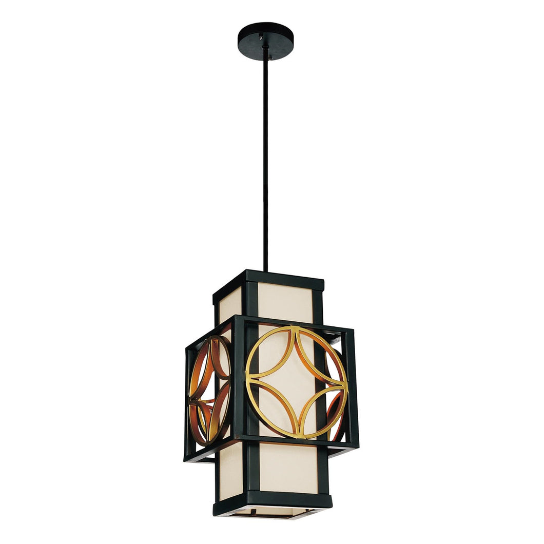 1 Light Drum Shade Mini Pendant with Golden Line Bronze finish