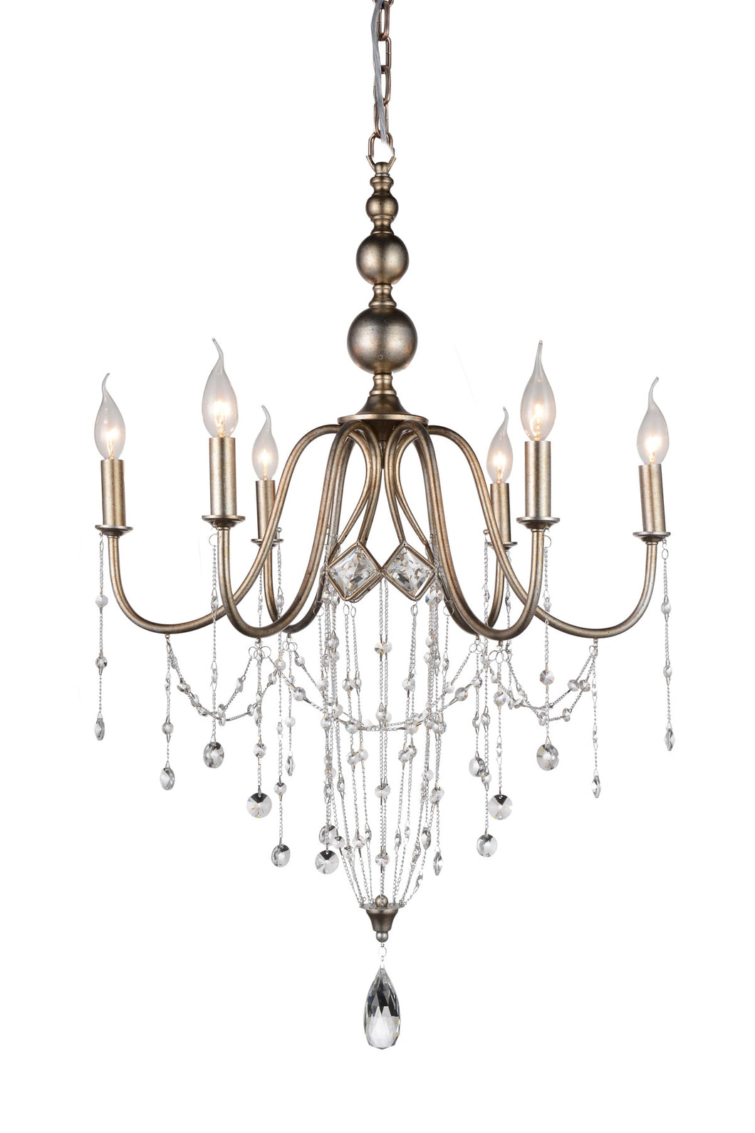 6 Light Up Chandelier with Speckled Nickel finish