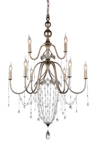 9 Light Up Chandelier with Speckled Nickel finish
