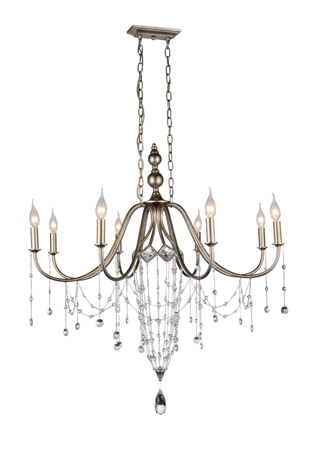 8 Light Up Chandelier with Speckled Nickel finish