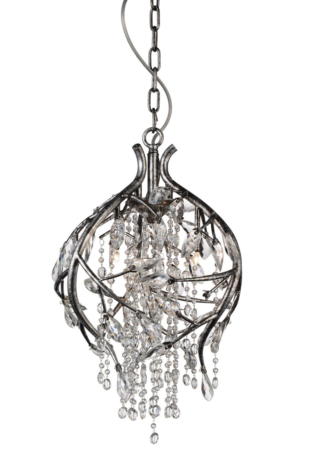 3 Light Down Chandelier with Speckled Nickel finish